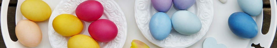 coloured eggs on a plate