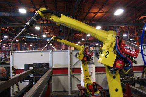 Industrial robots perched