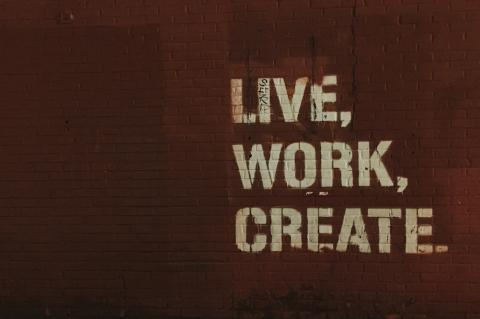 live work create text on a wall